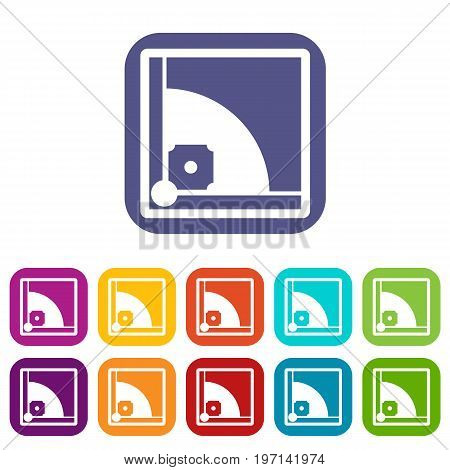 Baseball field icons set vector illustration in flat style in colors red, blue, green, and other