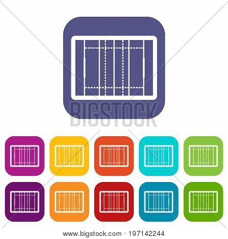 Rugby field icons set vector illustration in flat style in colors red, blue, green, and other