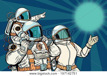 Astronauts family, father mother and child. Space travel. Pop art retro vector illustration