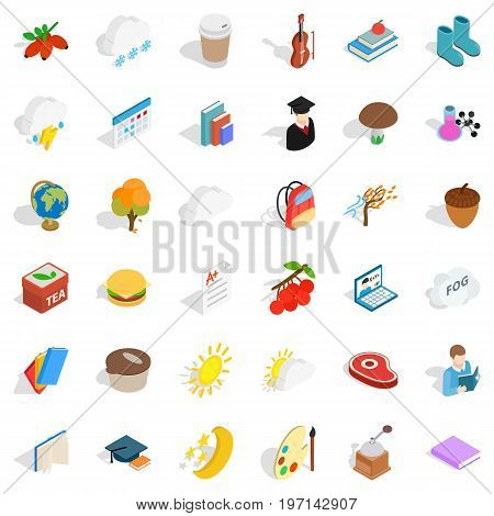 Cold autumn icons set. Isometric style of 36 cold autumn vector icons for web isolated on white background