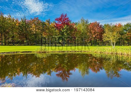 Adorable oval pond in the beautiful park. Shining day in French Canada. Concept of recreational tourism. Red and orange autumn foliage reflected in clear water of the pond