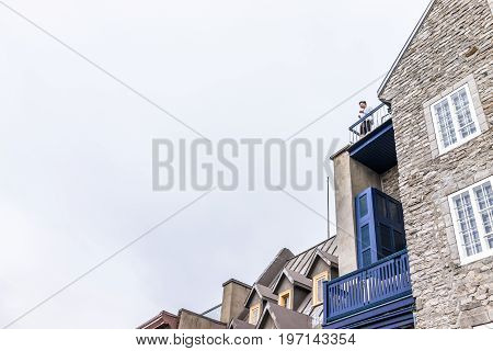 Quebec City, Canada - May 30, 2017: Cityscape Or Skyline Of Lower Old Town Buildings On Rue Du Petit