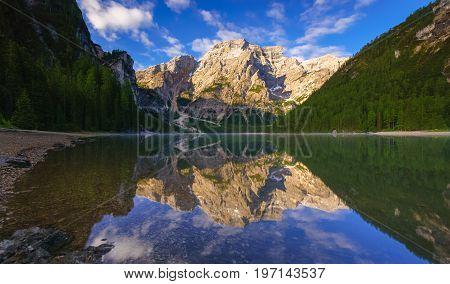 Braies Lake at sunrise Dolomites mountains Sudtirol Italy