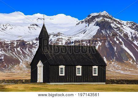 Budir black church at the Snaefellsnes peninsula Iceland