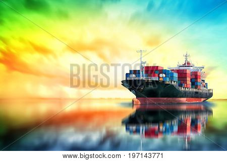 Logistics and transportation of International Container Cargo ship in the ocean at sunset time Freight Transportation Shipping Nautical Vessel