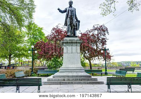 Quebec City, Canada - May 30, 2017: Montmorency Park National Historic Site With Jacques Cartier Sta