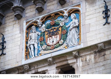 ANTWERP BELGIUM - OCTOBER 2 2016: coat of arms of the city of Antwerp above the gate of the Steen castle