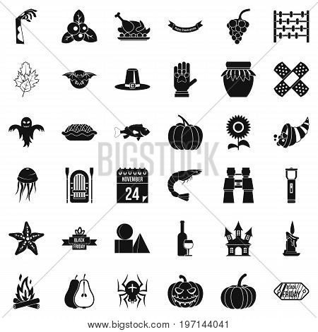 Thanksgiving Day icons set. Simple style of 36 Thanksgiving Day vector icons for web isolated on white background