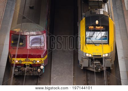 ANTWERP BELGIUM - OCTOBER 2 2016: Two trains ready for departure at antwerp central station