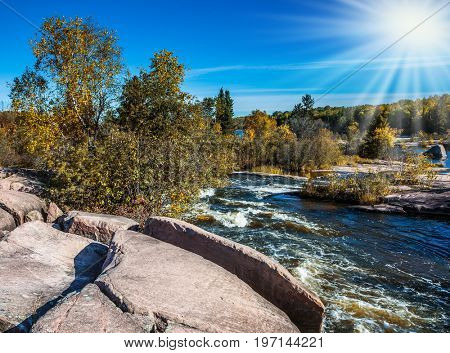Foamy water rifts on stones and low fir-trees on river banks Winnipeg. Autumn northern sun in Old Pinava Dam. The concept of ecological and extreme tourism