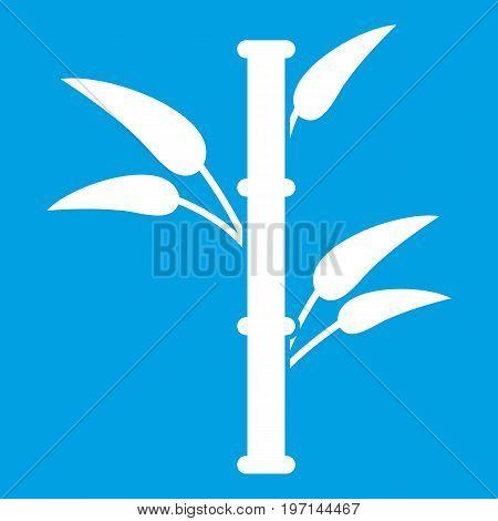 Bamboo icon white isolated on blue background vector illustration