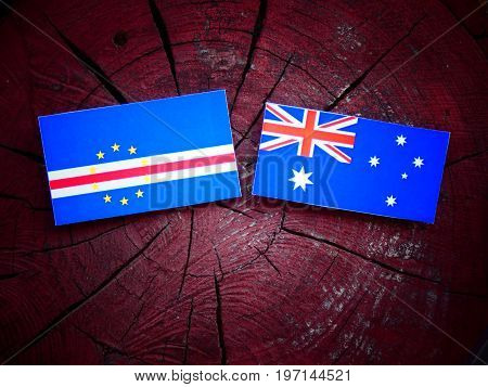 Cape Verde Flag With Australian Flag On A Tree Stump Isolated
