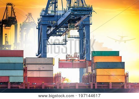 Industrial Crane loading Containers in a Cargo freight ship at Sea Port logistic import export background and transport industry.