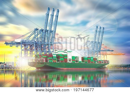 Logistics and transportation of International Container Cargo ship and Cargo plane with ports crane bridge in harbor for logistic import export background and transport industry.