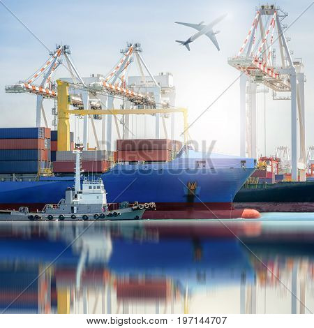 Logistics and transportation of International Container Cargo ship and and Cargo plane in a harbor with water reflections Freight Transportation Shipping Nautical Vessel