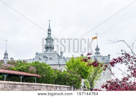 Quebec City, Canada - May 30, 2017: View Of Seminary With Cross And Flag