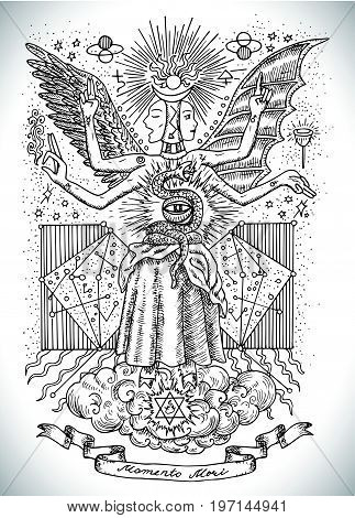 Occult and new age drawing of mystic and spiritual symbols, goddess of wisdom and eternity, vignette banner and constellations. Latin text Momento Mori means Remember that you have to die