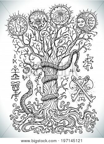 Black and white drawing with mystic and christian religious symbols as snake, tree of knowledge and forbidden fruit. Occult and esoteric vector illustration, tattoo concept, gothic engraved background