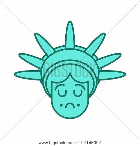 Statue Of Liberty Face Emoji. Sightseeing America. Sad Head Of Sculpture Of United States. Sorrowful