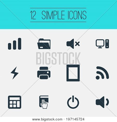 Elements Battery, Select, Quiet Sound And Other Synonyms Computer, Palmtop And Compute.  Vector Illustration Set Of Simple Computer Icons.