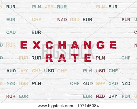 Money concept: Painted red text Exchange Rate on White Brick wall background with Currency
