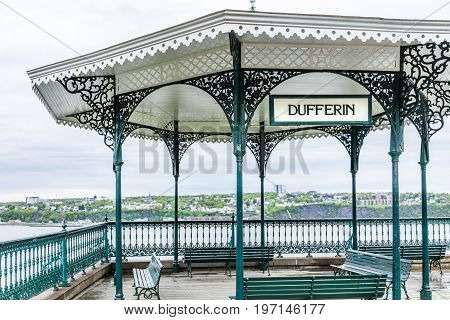 Quebec City, Canada - May 30, 2017: Old Town Closeup View Of Dufferin Terrace Gazebo With Flag In He