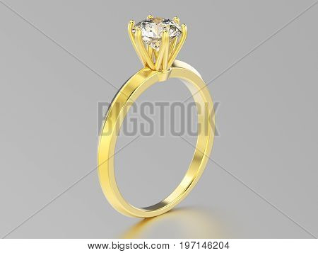 3D illustration isolated yellow gold classic ring with diamonds with reflaction on a grey background