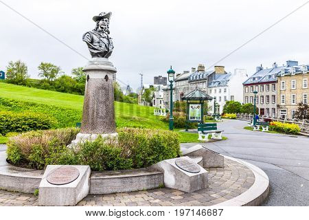 Quebec City, Canada - May 30, 2017: Pierre Dugua De Mons Bust Sculpture Memorial Monument In Old Tow