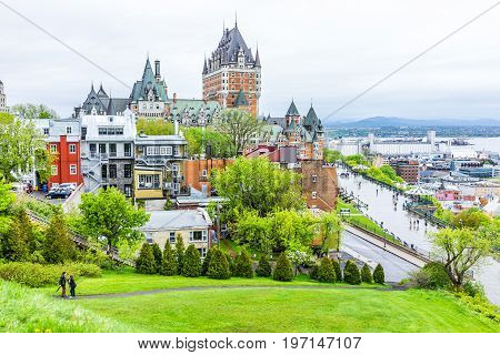 Quebec City, Canada - May 30, 2017: Cityscape Or Skyline Of Chateau Frontenac, Dufferin Terrace And