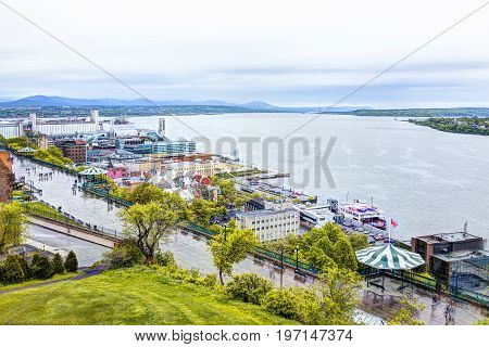 Quebec City, Canada - May 30, 2017: Cityscape Or Skyline Of Dufferin Terrace And Saint Lawrence Rive