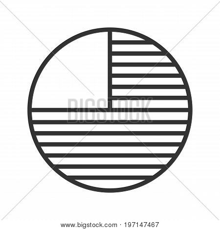 Circle diagram with missing part linear icon. Thin line illustration. Portion abstract metaphor. Contour symbol. Vector isolated outline drawing