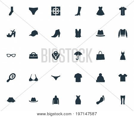 Elements Footwear, Cardigan, Glasses And Other Synonyms Parasol, Woman And Headpiece.  Vector Illustration Set Of Simple Clothes Icons.