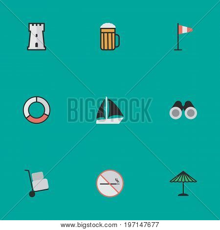 Elements Tower, Optical Zoom, Flag And Other Synonyms Lifebuoy, Zoom And Beach.  Vector Illustration Set Of Simple Holiday Icons.