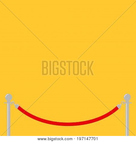 Red rope barrier stanchions turnstile facecontrol Yellow background Isolated. Flat design. Template. Vector illustration