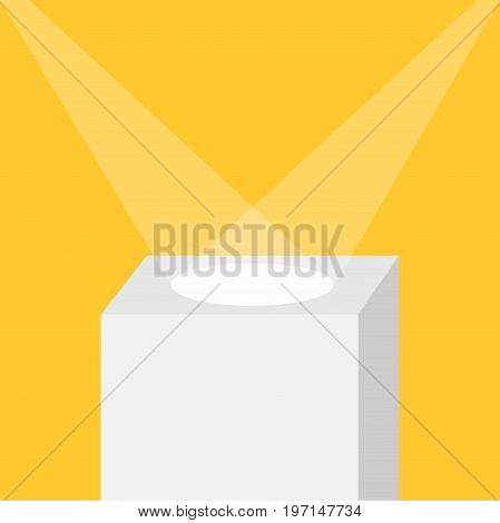 Square stage podium illuminated by spotlights. Empty pedestal for display. 3d realistic platform for design. Isolated. Yellow background. Template. Flat design. Vector illustration