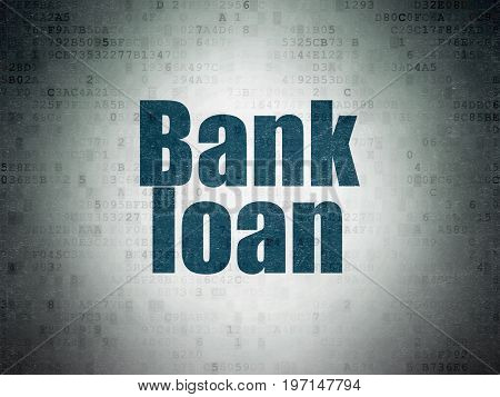 Banking concept: Painted blue word Bank Loan on Digital Data Paper background