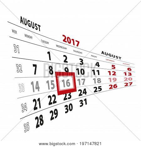16 August Highlighted On Calendar 2017. Week Starts From Monday.