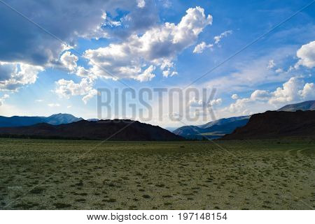 Arid Chuya steppe in Altai mountains. Altay Republic Siberia Russia.