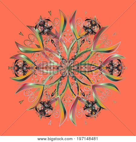 Vector illustration. Abstract winter ornament. Isolated cute snowflakes on colorful background. Fine snowflake. Round vector snowflake.