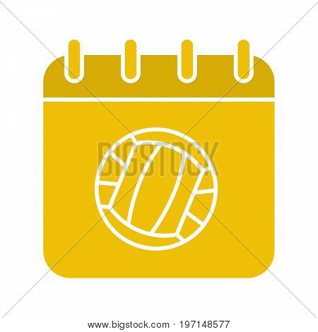 Volleyball championship date glyph color icon. Calendar page with volleyball ball. Silhouette symbol on white background. Negative space. Vector illustration