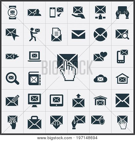 Elements Mailman, Cursor, Look For And Other Synonyms Protected, Specter And Box.  Vector Illustration Set Of Simple Communication Icons.