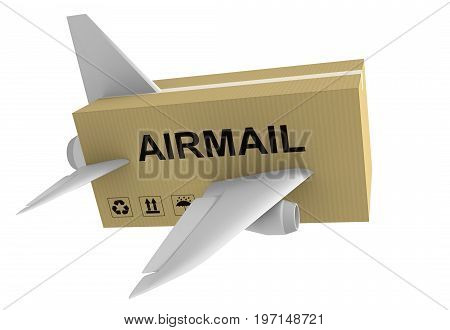 Airmail shipping concept of a mail parcel with airplane wings isolated on a white background, 3D rendering