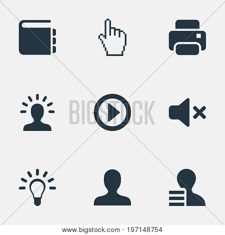 Elements Creativity, Pointer, Profile And Other Synonyms Innovation, Analyst And Silence.  Vector Illustration Set Of Simple Web Icons.