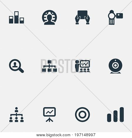 Elements Training, Growing Up, Video Cam And Other Synonyms Phone, Camera And Increase.  Vector Illustration Set Of Simple Presentation Icons.