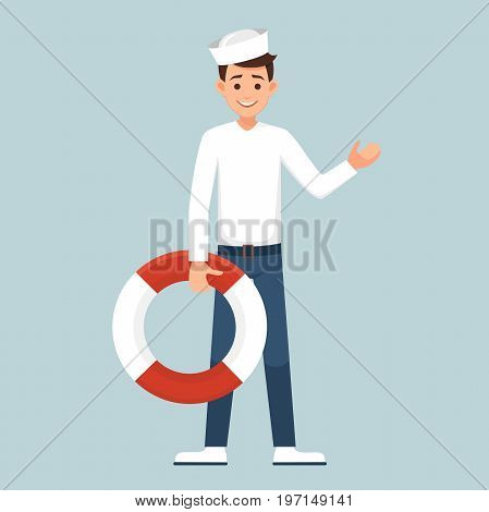 Cartoon sailor man holding a life preserver. the seafarer in the form welcomed by the uplifted hand. vector illustration isolated from background