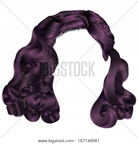 trendy woman short hairs purple colors . fringe. fashion beauty retro style . realistic 3d .