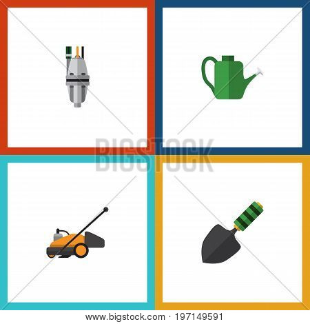 Flat Icon Dacha Set Of Pump, Lawn Mower, Bailer And Other Vector Objects