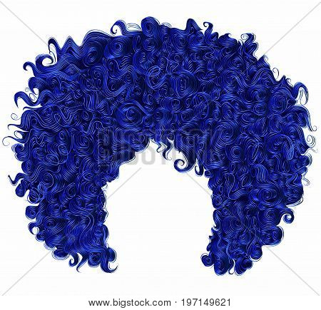 trendy curly dark blue hair . realistic 3d . spherical hairstyle . fashion beauty style .