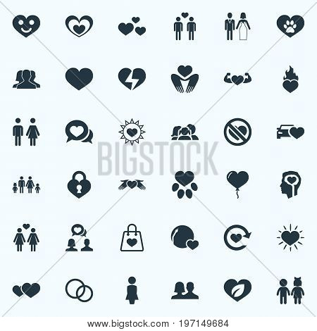 Elements Household, Amour, Package And Other Synonyms Decoration, Power And No.  Vector Illustration Set Of Simple Valentine Icons.