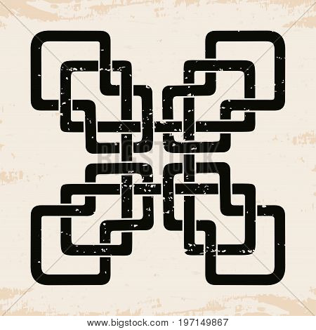 Celtic national ornament in the shape of a cross. Black pattern on a beige background.